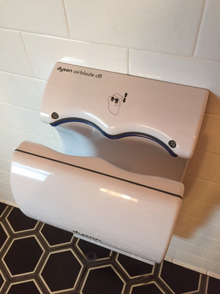 """Hey Dyson, your fancy waterless """"airblade"""" urinal needs a lot of improvement. Damn thing blew my pee everywhere! https://t.co/YlI43Hy0S4"""