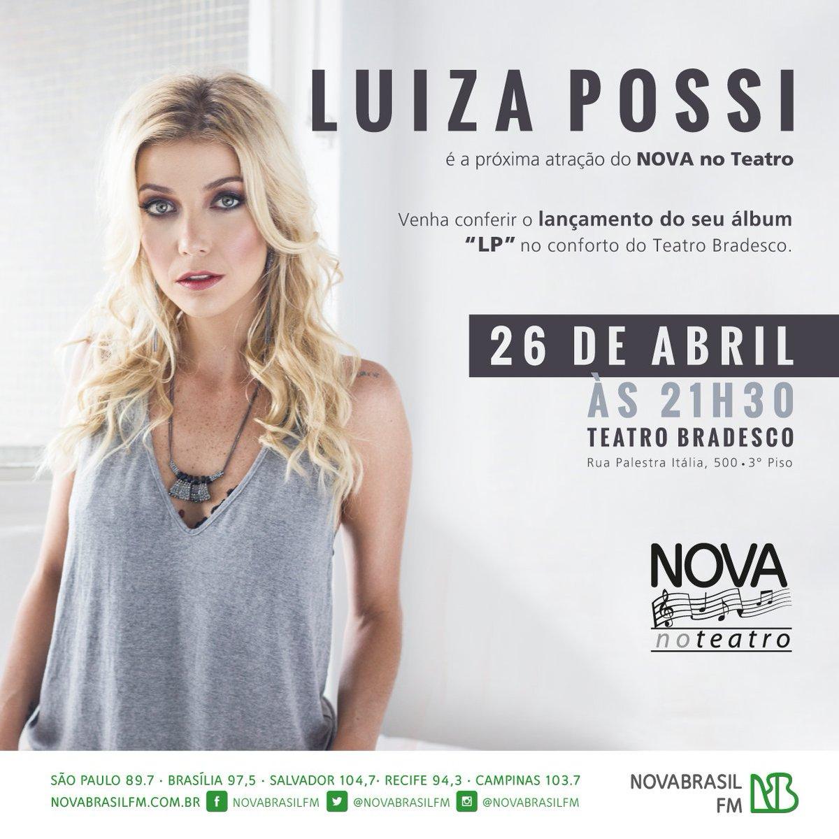 Dê RT e concorra a 1 par de ingressos para o show de @luizapossi, dia 26/04, pelo #NOVAnoTeatro https://t.co/zHnAcJhClv