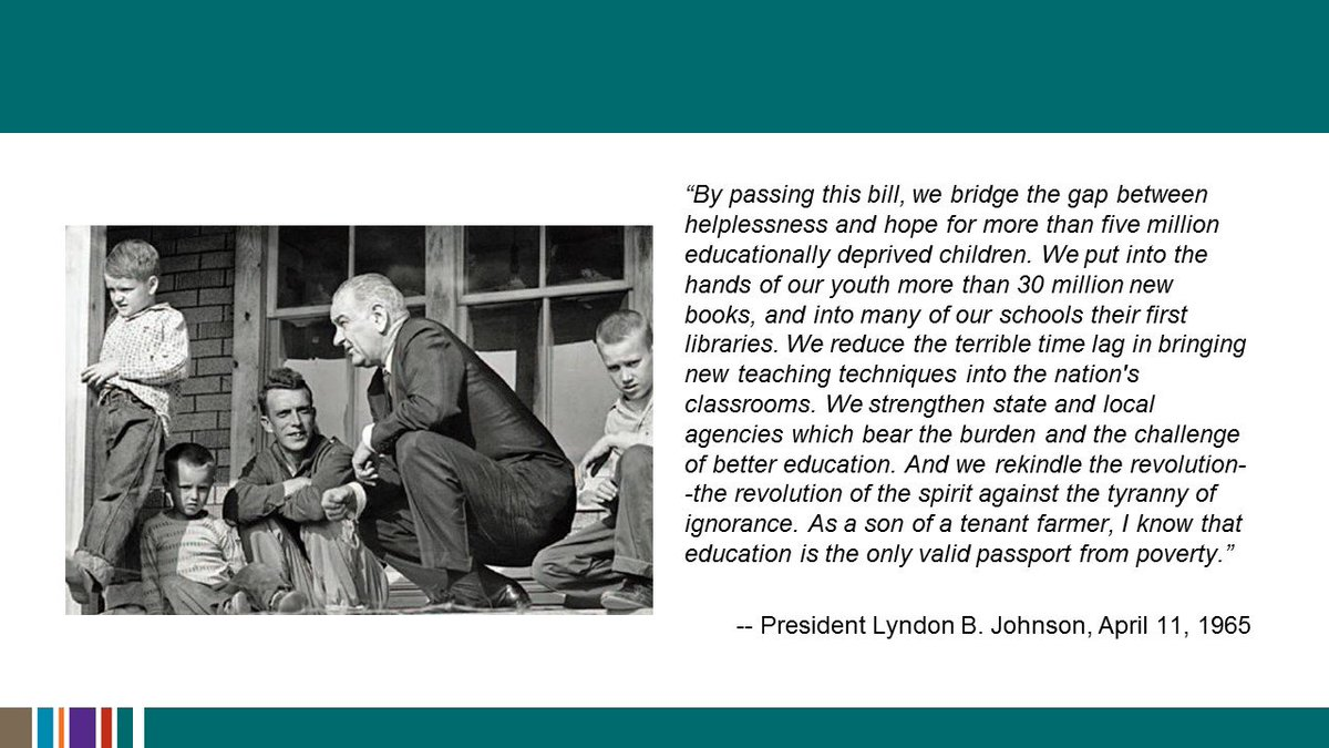Today is the anniversary of President Lyndon B. Johnson signing the Elementary and Secondary Education Act in 1965. https://t.co/y7IWsDJz2a