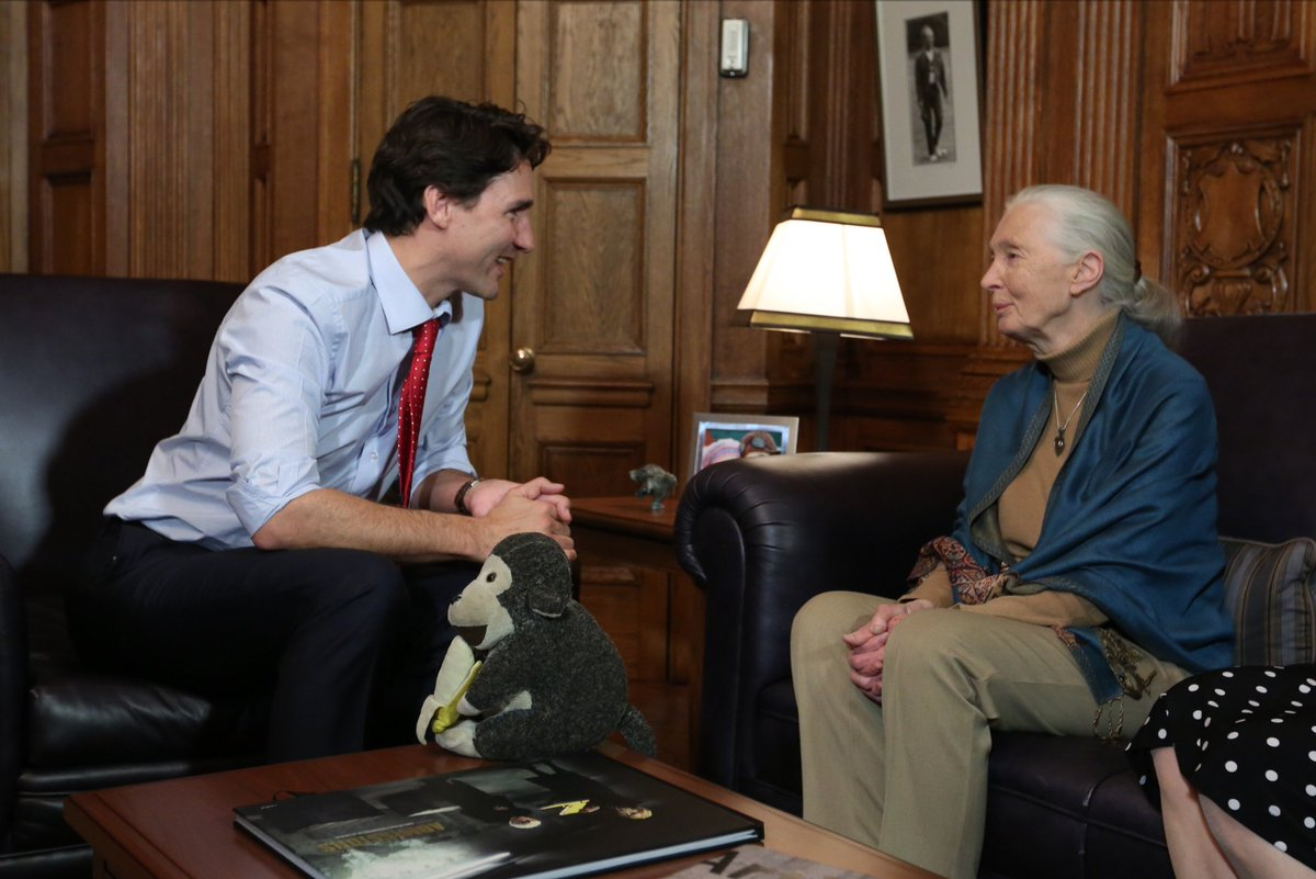 RT @JustinTrudeau: Very honoured to meet with Dr. Jane Goodall today - and delighted her Institute is opening a new office in Edmonton. htt…