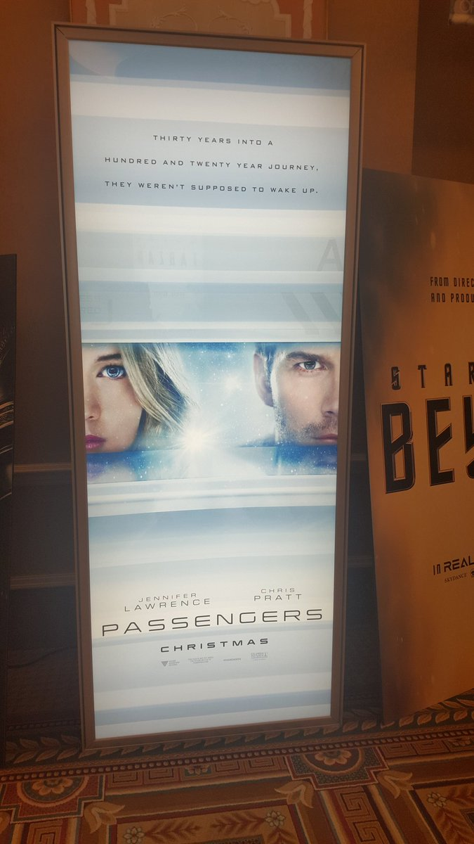 Ahh first poster for #Passengers with Jennifer Lawrence and Chris Pratt #cinemacon2016 https://t.co/LDmstt2H2I