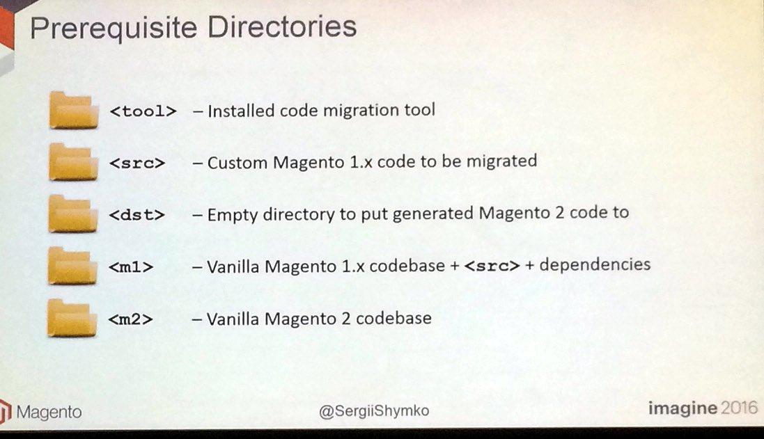 benjaminrobie: Prerequisites for the migrate script.... #MagentoImagine https://t.co/Q2EjkzFeMS