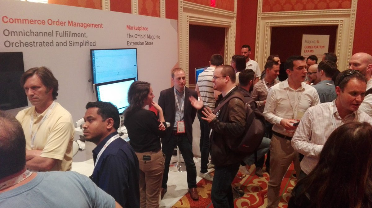 rojo_angel: Wow! Our @magento MCOM booth looks pretty busy. Glad to see so many people interested. #MagentoImagine https://t.co/MgBIvxJXOI