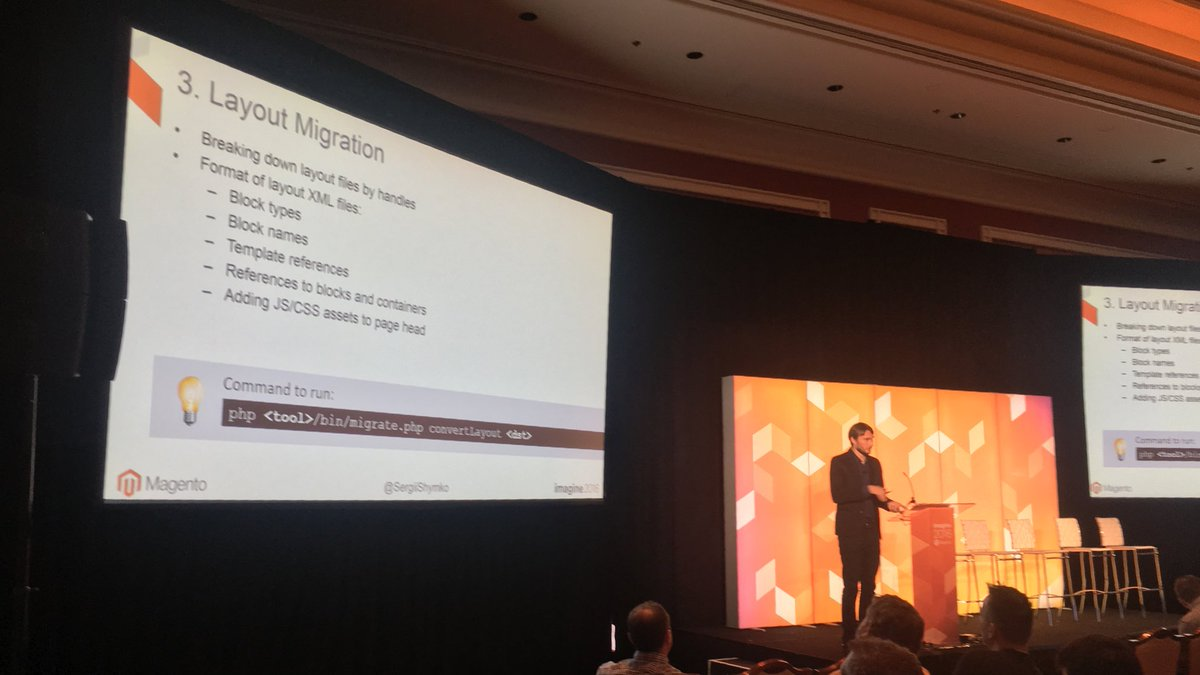 benmarks: Now @SergiiShymko talking about migration tools for M1 to M2 at #MagentoImagine https://t.co/7BvG192dGr