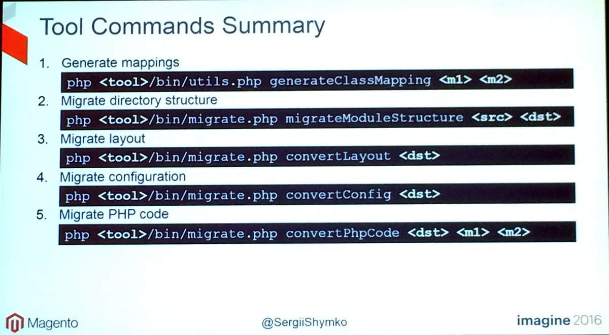 benjaminrobie: Migration command summary for #Magento2. #MagentoImagine https://t.co/S5cO7M7clb