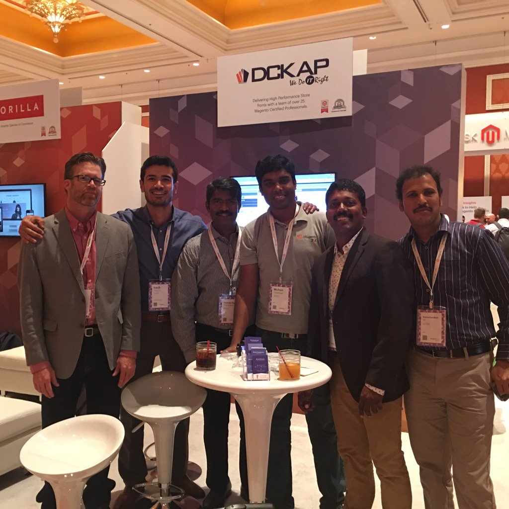 DCKAP: @DCKAP Team is here  booth 323. Come say hello and look at our products - free demo and discounts #MagentoImagine https://t.co/Qd5UzO0Eio