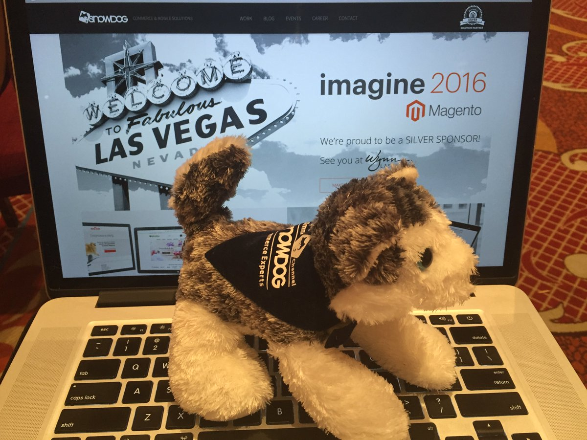 SirGrantFleming: Smart folks @snowdog innovating with bluetooth beacon reordering-also 1 of the cutest pups in vegas #MagentoImagine https://t.co/QJ2hdGnP3Y