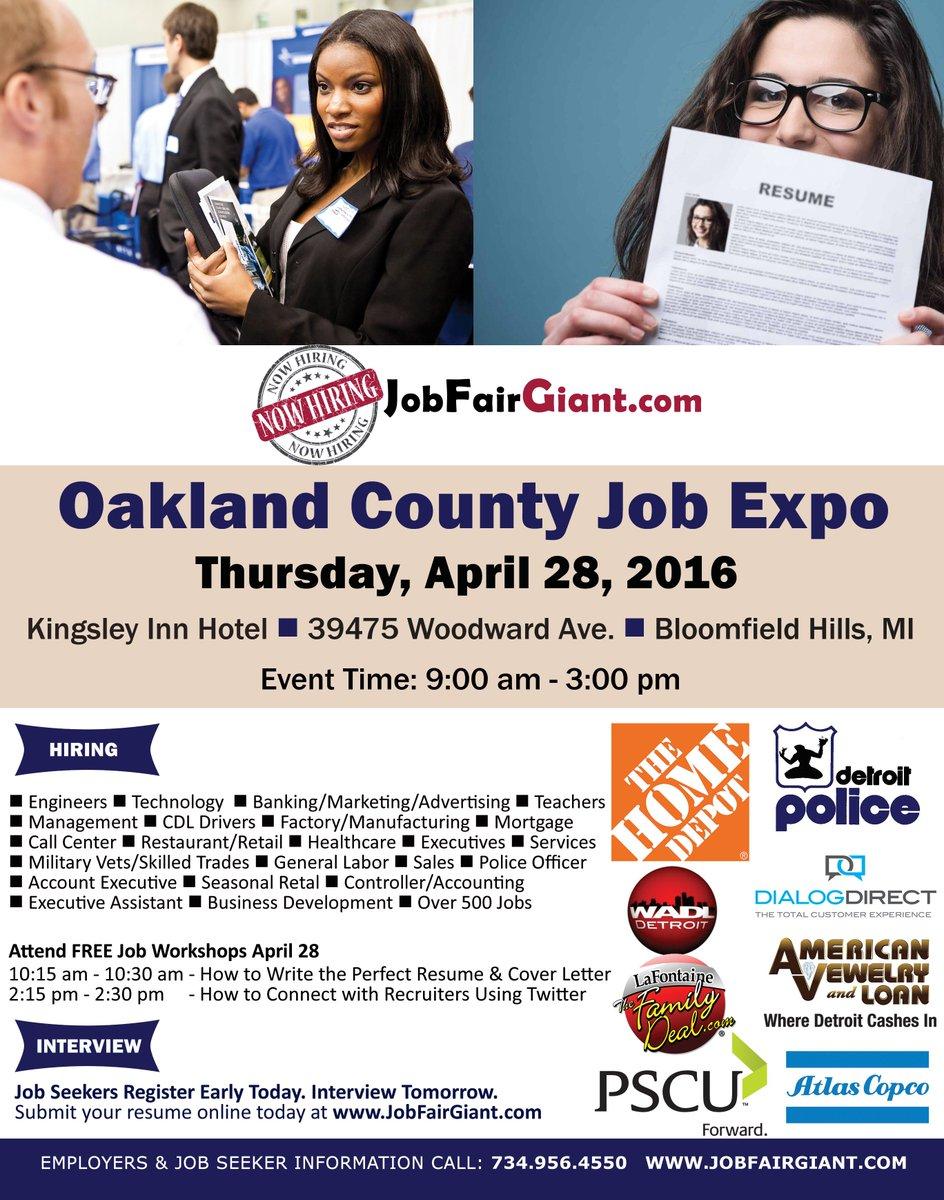 April 28 #Michigan Job Expo in Bloomfield Hills.Details at https://t.co/gqiVuUXc3i @HuffPostDetroit @detnews @freep https://t.co/ptpkYxzUG3
