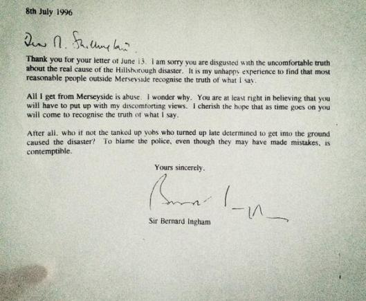 The appalling letter Margaret Thatcher's press secretary sent to Hillsborough campaigners. What a prick! #JFT96 https://t.co/VoE29rUFRh