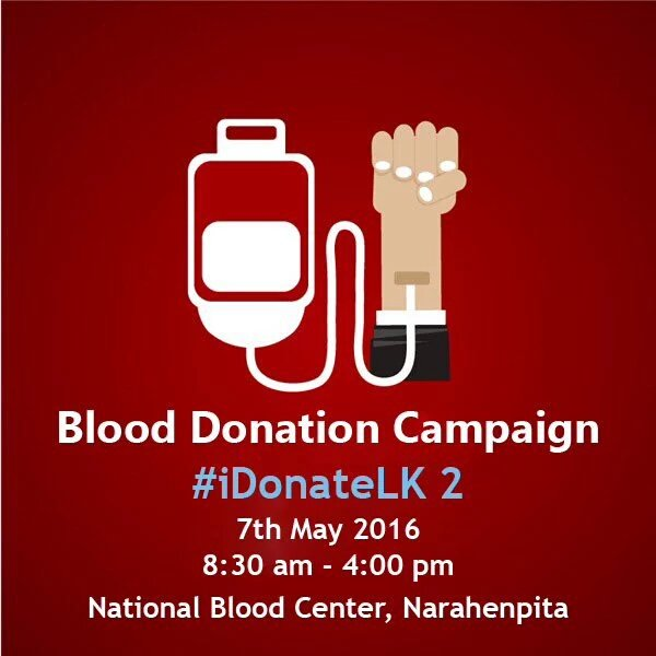 15 minutes of your time + 350ml of your blood. One life saved ☺ Please be a part of #iDonateLK