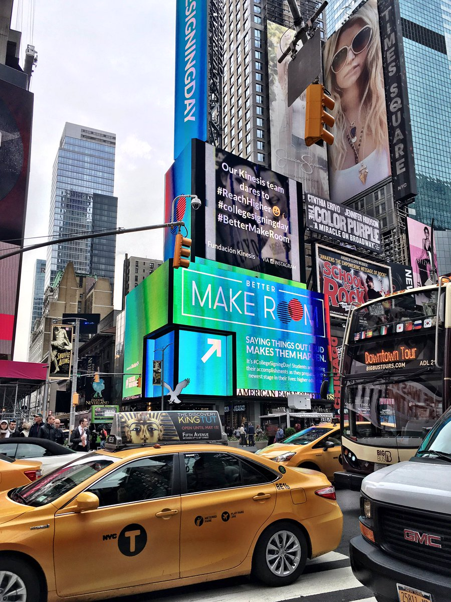 When your work is back on the big screen in Times Square! #BetterMakeRoom #CollegeSigningDay https://t.co/6vIBR7E0EB