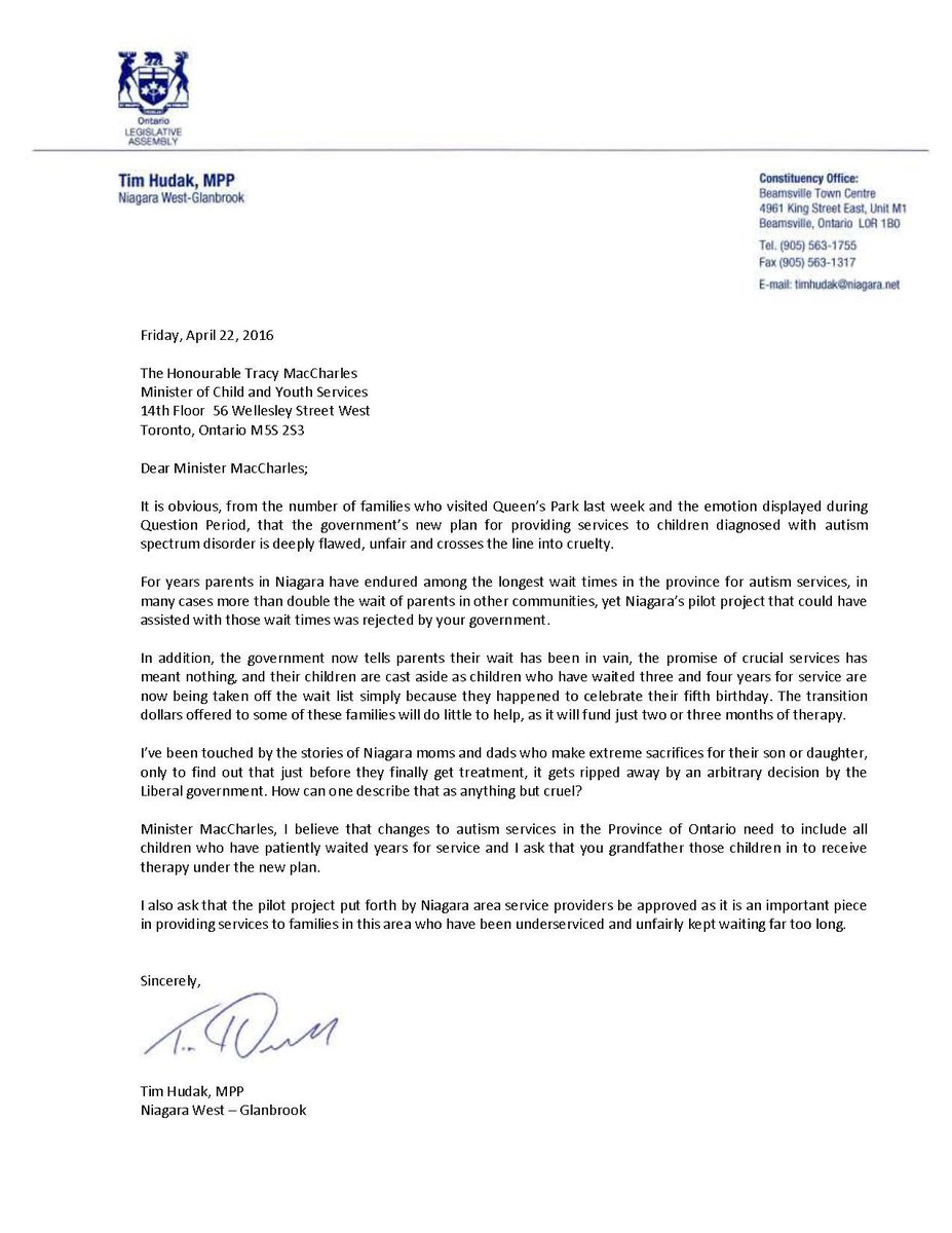 My letter to @TracyMacCharles on deeply flawed, cruel cuts to autism treatment for Niagara kids #AutismDoesntEndAt5 https://t.co/cxXohBfG25