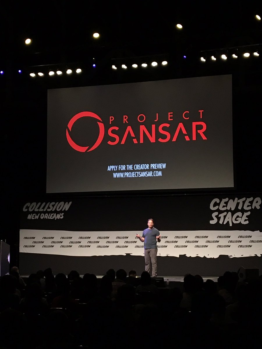 .@ebbealtberg on stage at #CollisionConf announcing #ProjectSansar creator preview applications are now open! #VR https://t.co/Ky3JwQEk0J