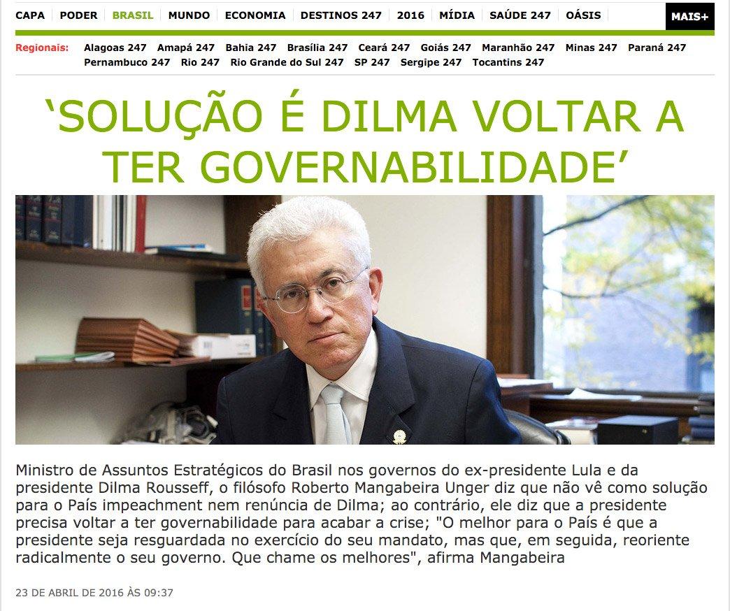 'Solução é Dilma voltar a ter governabilidade' PENSO COMO MANGABEIRA UNGER https://t.co/Nn59G9KAEA … https://t.co/lYjciENaHW