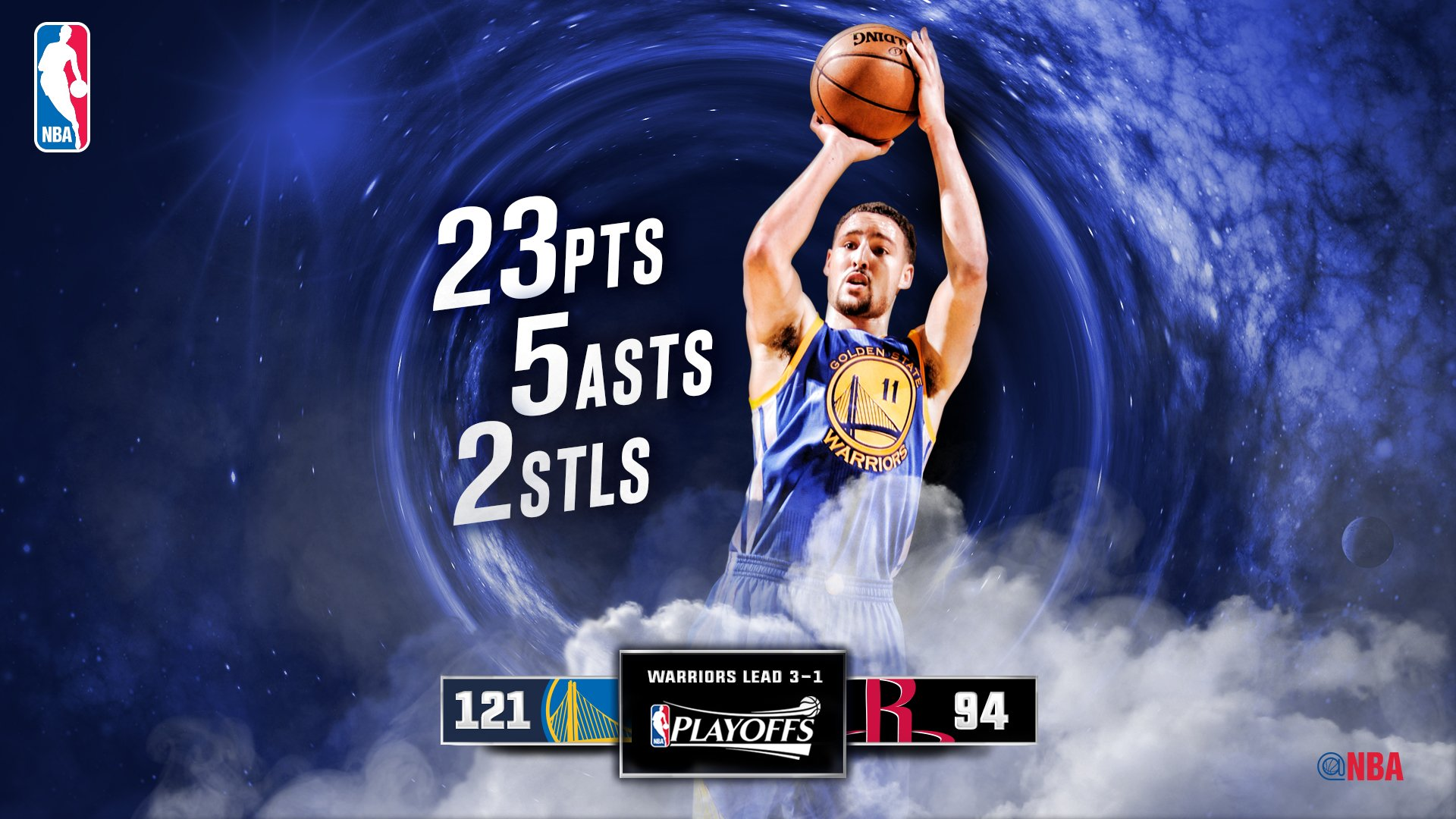 Klay Thompson hits 7 of @Warriors' @NBA record 21 3PM in a post-season game to go w/ 5 ASTs, 2 STLs. https://t.co/QzFDRnU92B