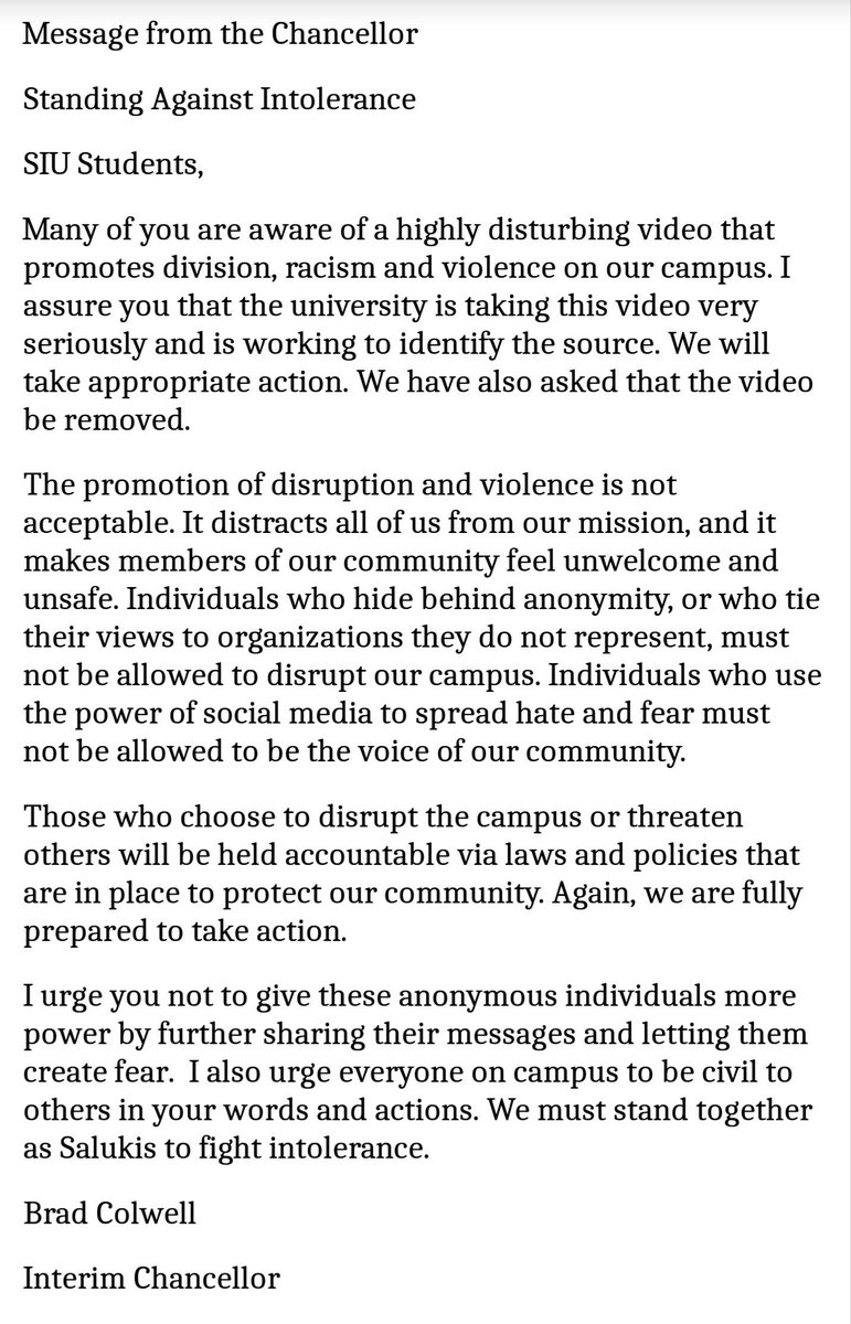 Message from the Chancellor Standing Against Intolerance https://t.co/pSs0l9OBSs