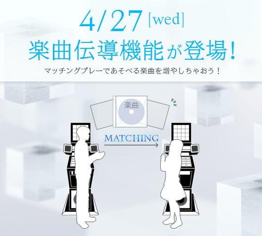 4/27(水)より楽曲伝導機能が開始します! 店舗内で友だちとマッチングして、まだあそべない楽曲をプレーさせてもらいましょう。 プレーした楽曲が「伝導」し、いつでもあそべる 続きは→https://t.co/F5EY1CPI6w https://t.co/0JDN6AbfHl