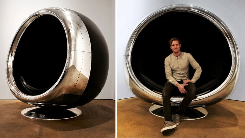 This chair made from a @Boeing 737 engine cowling is the ultimate in avgeek home decor: