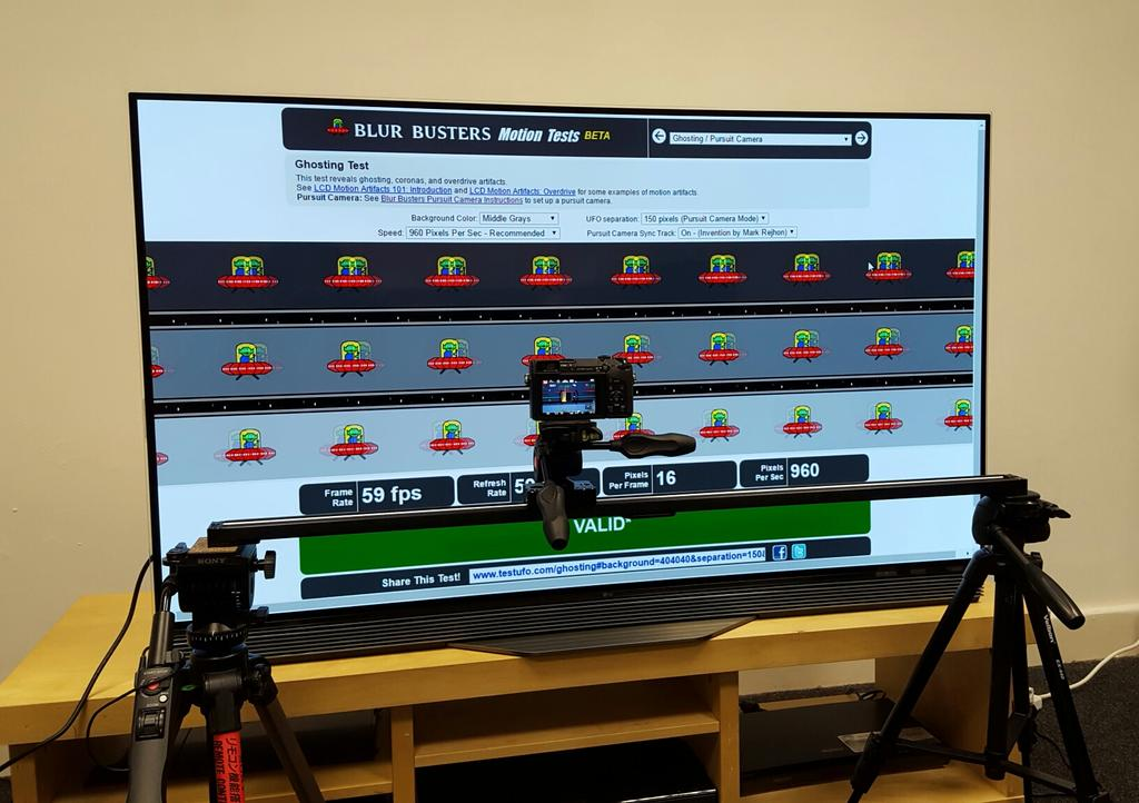 All geared up to assess motion clarity on the LG E6 OLED TV using @BlurBusters' ingenious pursuit camera setup. https://t.co/cHoFpafa1a