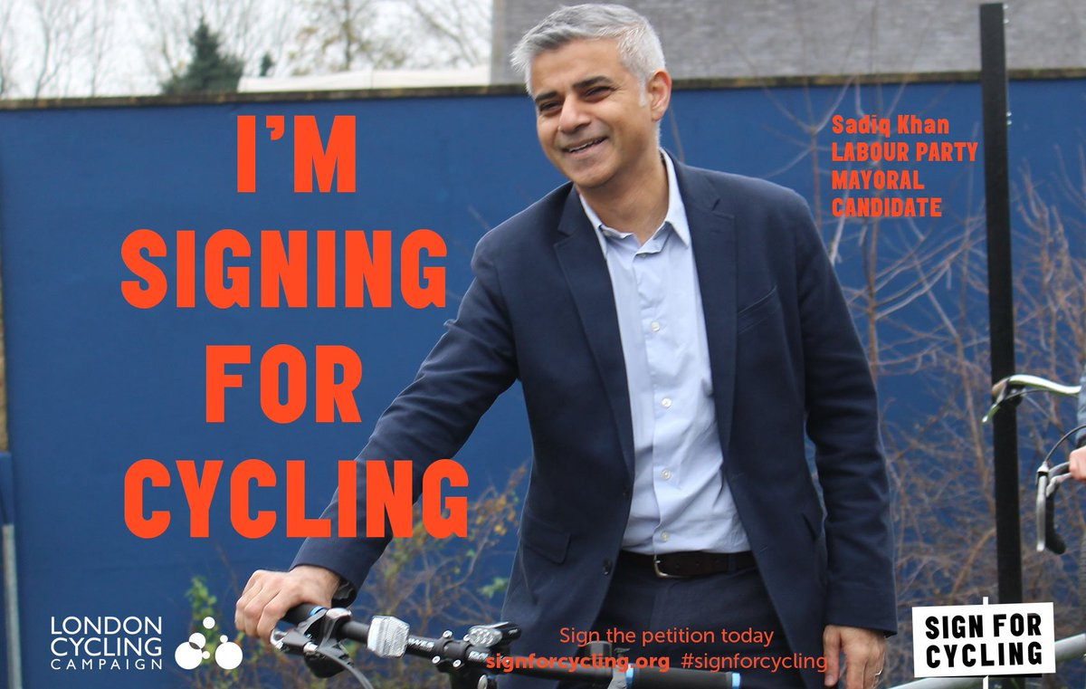 BIG NEWS KLAXON! @SadiqKhan backs #signforcycling.  https://t.co/rvC4odeVyb https://t.co/eY1bIAJVFD
