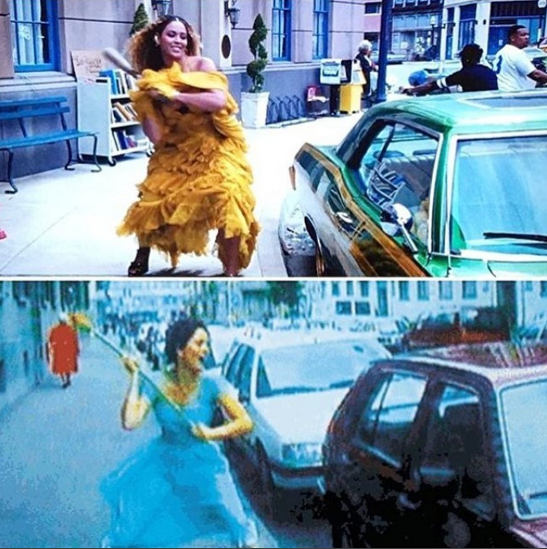 Beyoncé (2016) or Pipilotti Rist (1997): who wore the rage better? #LEMONADE Image: Isabel Venero https://t.co/xV6EKv98ZO