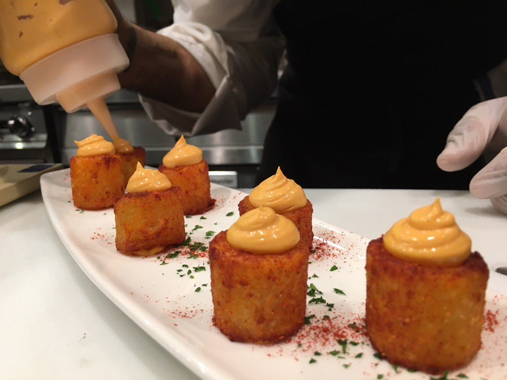 Patatas Bravas (spicy potatoes) are an Amada classic! @NYCAmada #ChefDiary https://t.co/1wqt4fC5IJ