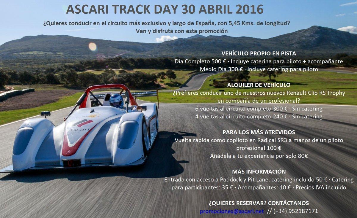 Ya queda menos para nuestro Track Day del sábado! Qué mejor plan para este puente? #Ascari  #race #circuit #TrackDay https://t.co/uwIFOdGbAj