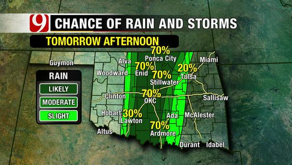 Severe storms likely tomorrow across Oklahoma, including OKC. Tornadoes, some strong, are possible. #okwx @NEWS9 https://t.co/0uFmtNbVsV