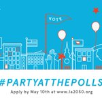 #LA! Get ready to #PartyatthePolls! April 26-May 10, apply for $3500 to host voter engagement events in your hood. https://t.co/TfF0qdPXC2
