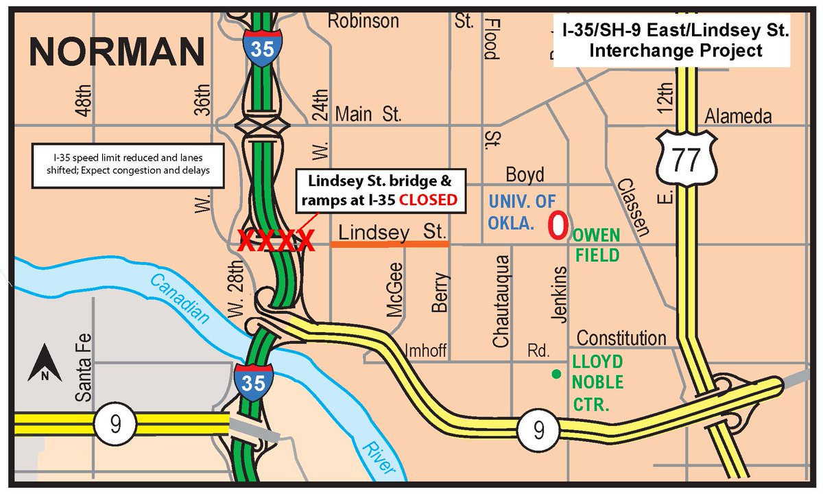 NORMAN- ALERT- Lindsey St. bridge and ramps at I-35 now closed thru early 2017. Use SH-9 East as detour. https://t.co/xT0BhjInah