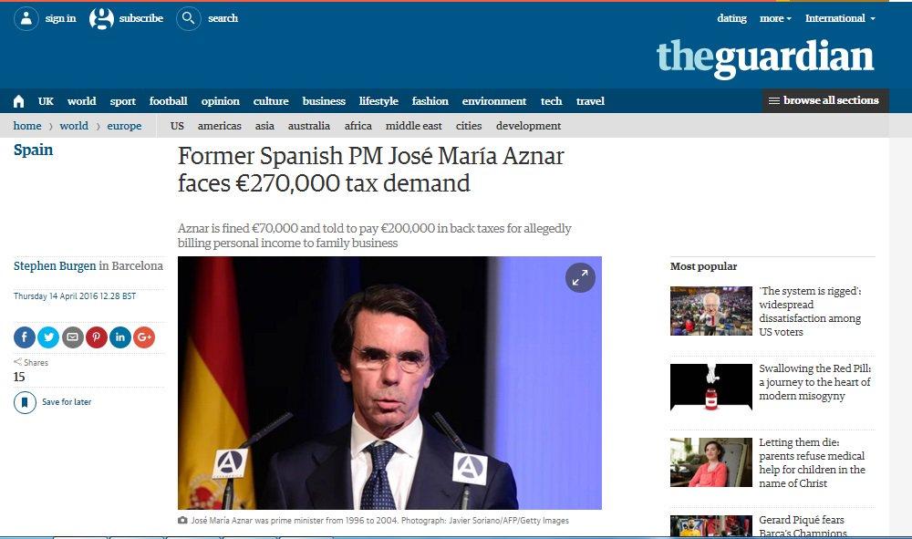 El caso Aznar preocupa más a The Guardian que a muchos medios españoles  https://t.co/9pOO0zqlb4 https://t.co/oLxPwBLE4e