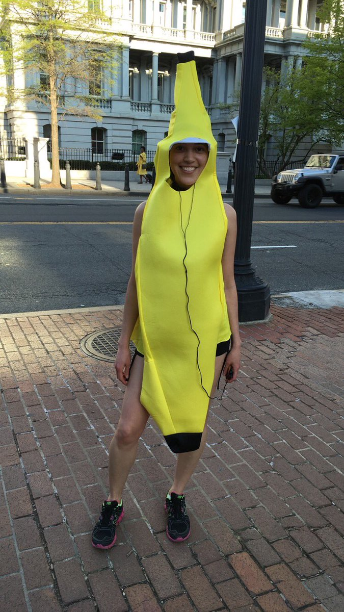 """Just met this girl running in a banana suit down 17th street. She said it """"makes running more fun."""" Lol"""