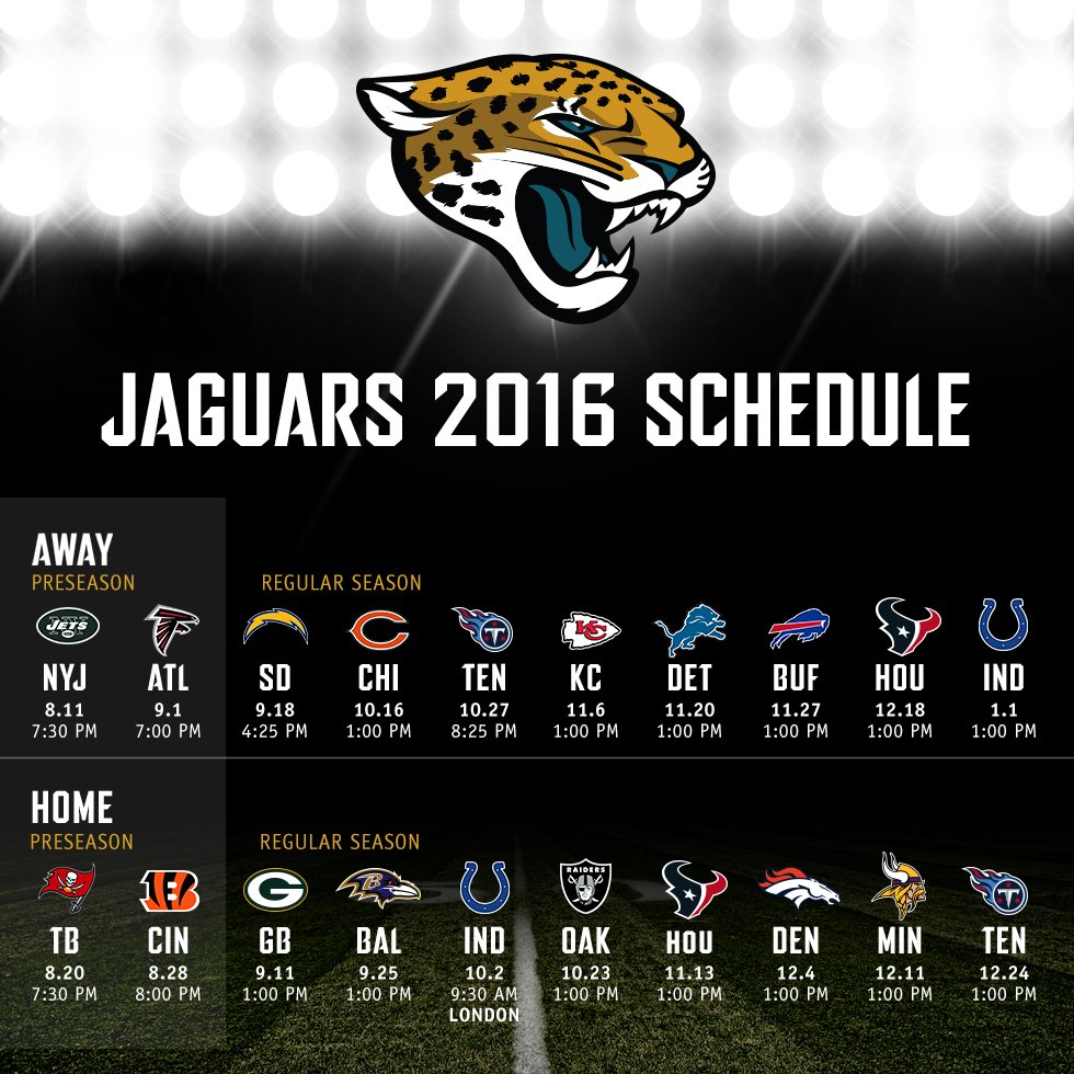 2016 jaguars schedule news and notes football jacksonville jaguars. Cars Review. Best American Auto & Cars Review