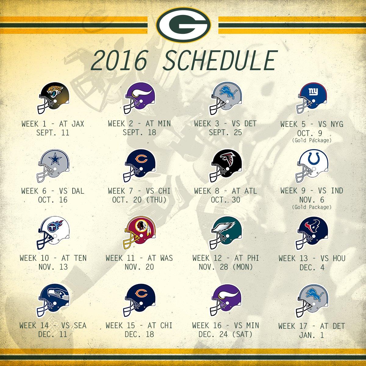 Green Bay Packers 2016 2017 Schedule   Calendar Template 2016