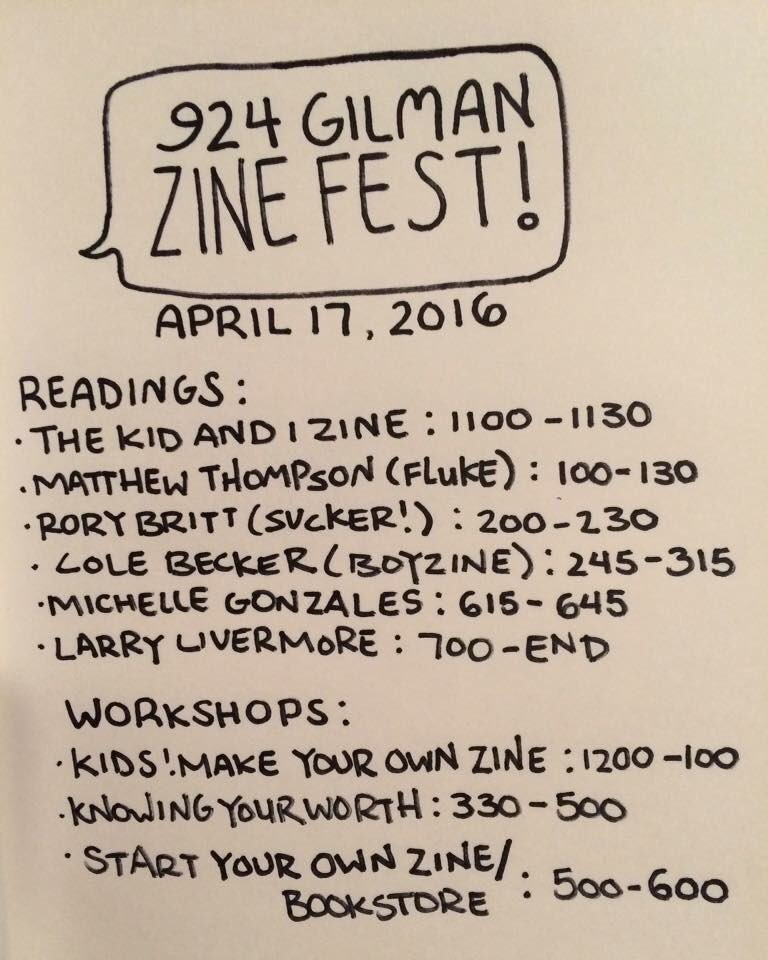 Come over this Sunday to enjoy free workshops readings and more at 924 Gilmans's very first Zine Fest! https://t.co/iLpMLAeK8e