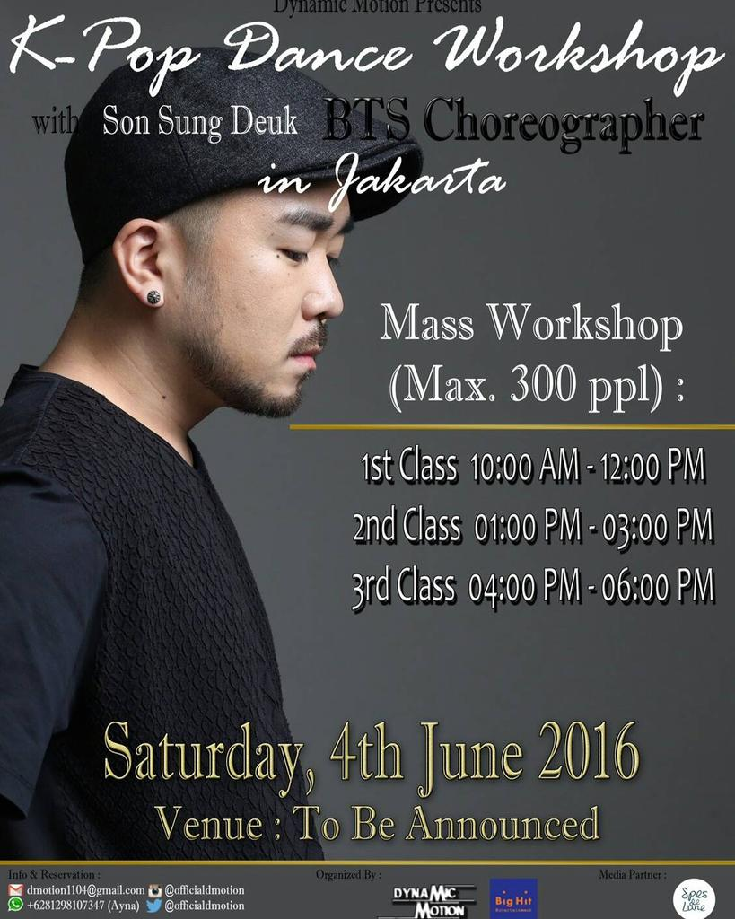 [ENG/INDO] Mr.Son ( BTS' Choreographer ) Dance Workshop in Jakarta: Details  Read: https://t.co/LhacXewU5P https://t.co/47NIruHXup