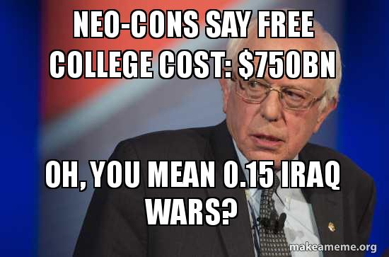 "We don't get ""free stuff"".  We pay.  Let's get education for our money and not foolhardy wars.  #demdebate https://t.co/XHFUKBQ4KW"