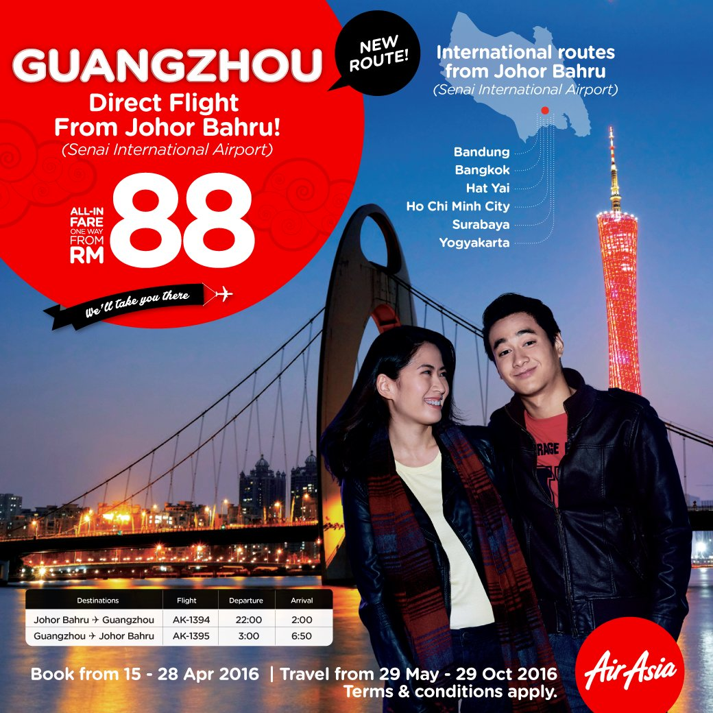 You can now fly direct to Guangzhou from JohorBahru! Grab your flights from RM88 @ today!