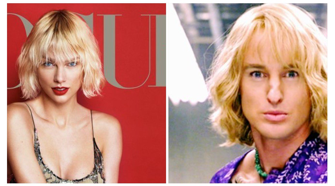 Poor Taylor Swift her Vogue cover she looks a little like Hansel (Owen Wilson) from Zoolander. Who wore it better? https://t.co/4I55mS2LAY