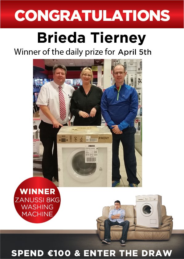 Congrats to one of our many daily prize winners Breda Tierney, seen here collecting her Zanussi washing machine! https://t.co/eLuRgUcOIB