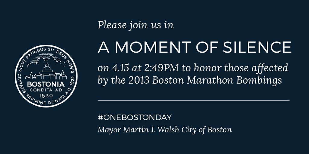 Please join us in a moment of silence today at 2:49 p.m. #OneBostonDay https://t.co/KWdZadtbfP