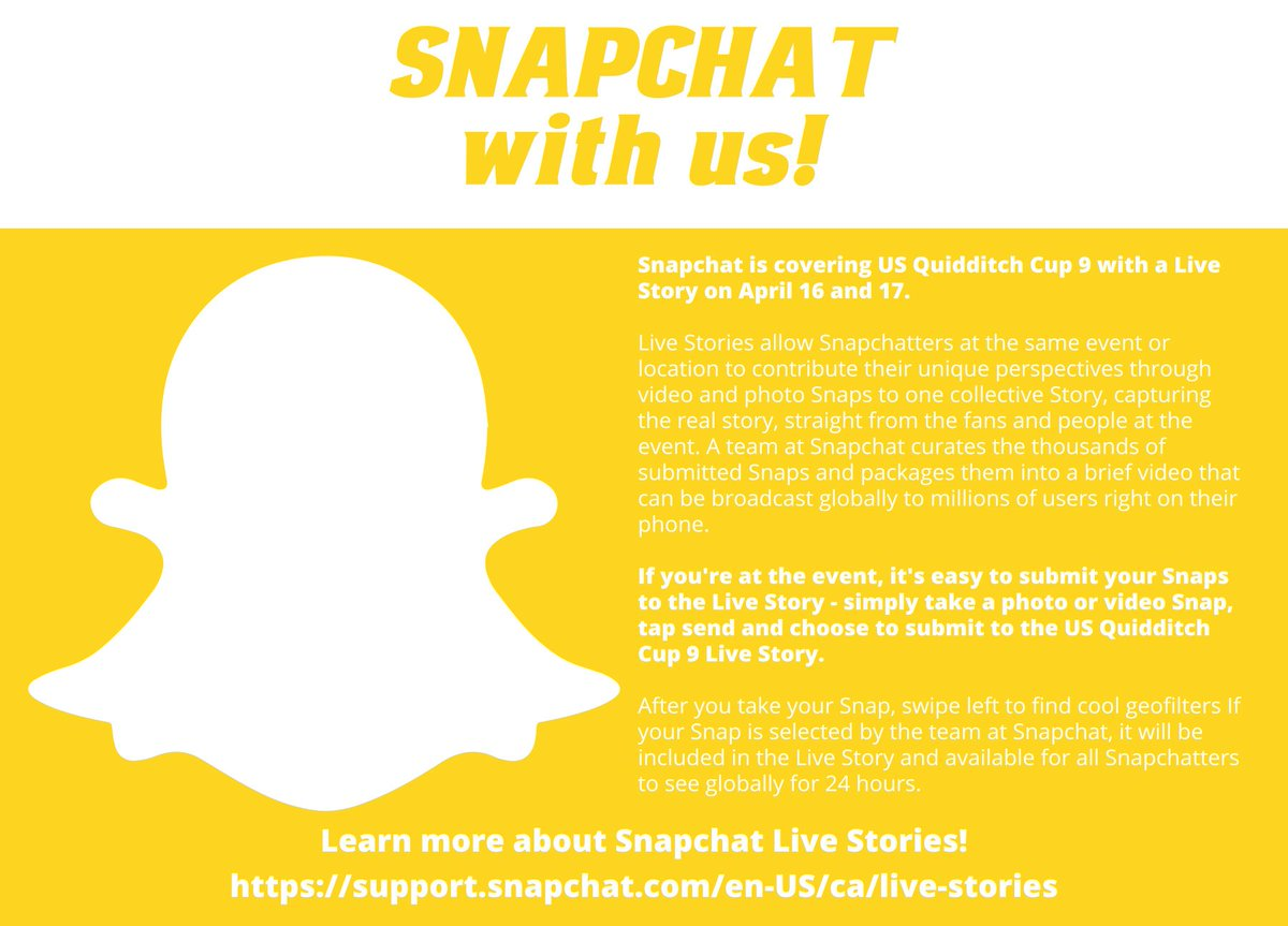 .@Snapchat is covering #QuidditchCup9 with a live story! https://t.co/w9wpftSbXF