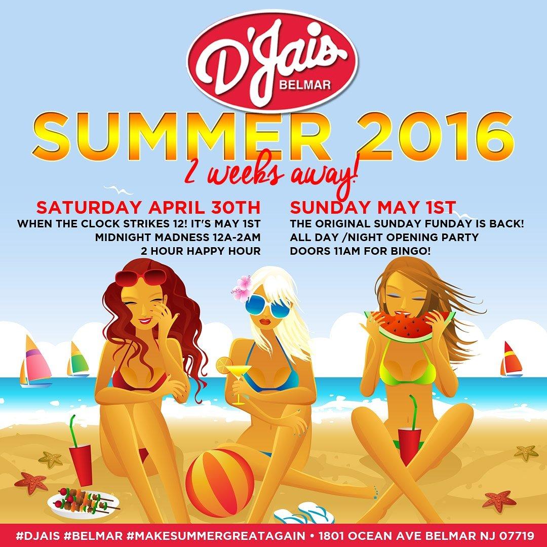 2 Weeks! #DJais #Belmar #OpeningParty #Summer2016 #MakeSummerGreatAgain #MidnightMadness #SundayFunday https://t.co/mU3w1RIbjT