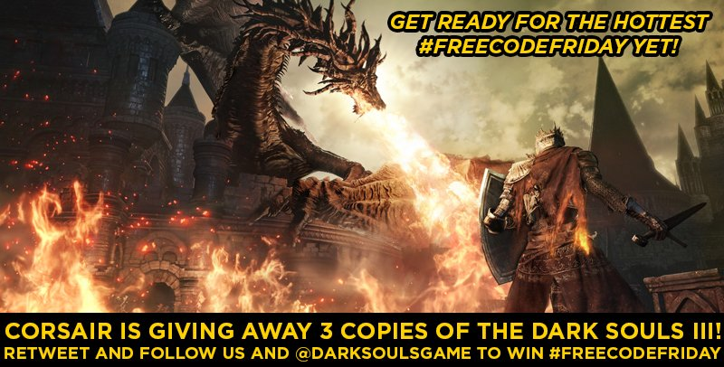 [It's #freecodefriday!] [YOU DIED] Three #DarkSouls3 codes are up for grabs! FOLLOW us+@DarkSoulsGame & RT to enter! https://t.co/9NfJXXu5Ci