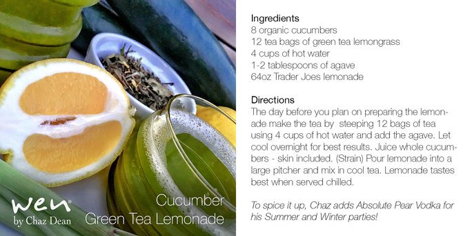 This #SundayFunday cool down with @chazdean's Cucumber Green Tea Lemonade!