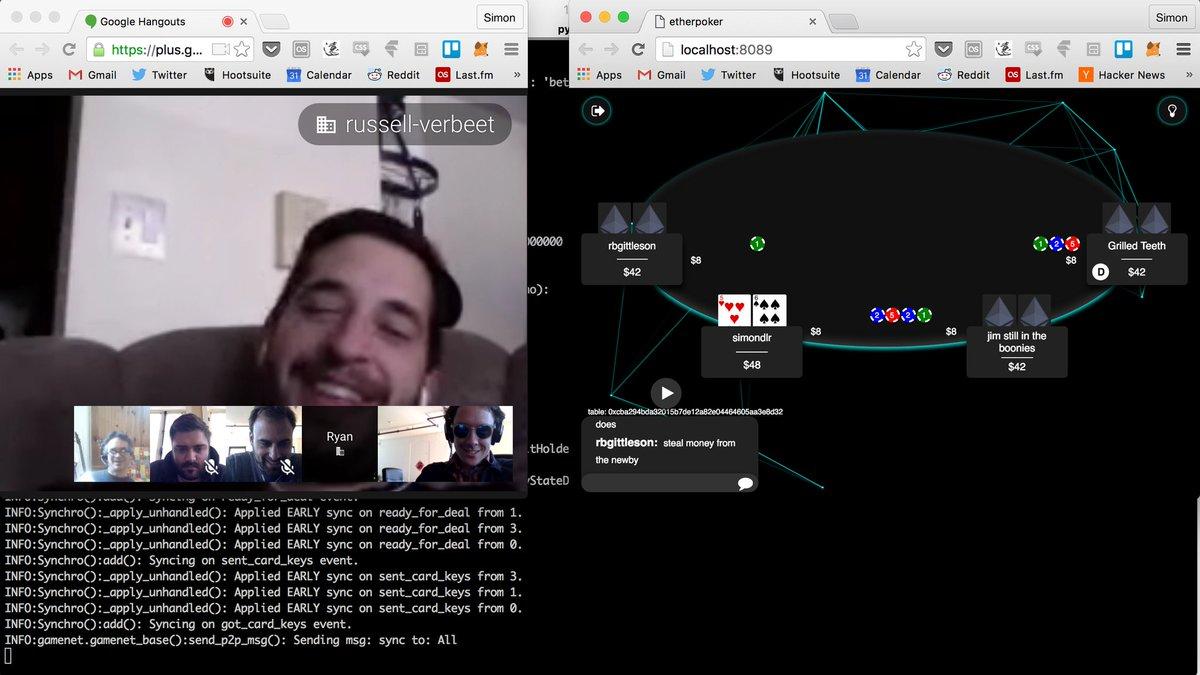 Battle testing EtherPoker. Decentralized poker on Ethereum! @ConsenSysLLC. https://t.co/5UKbkvOlK3