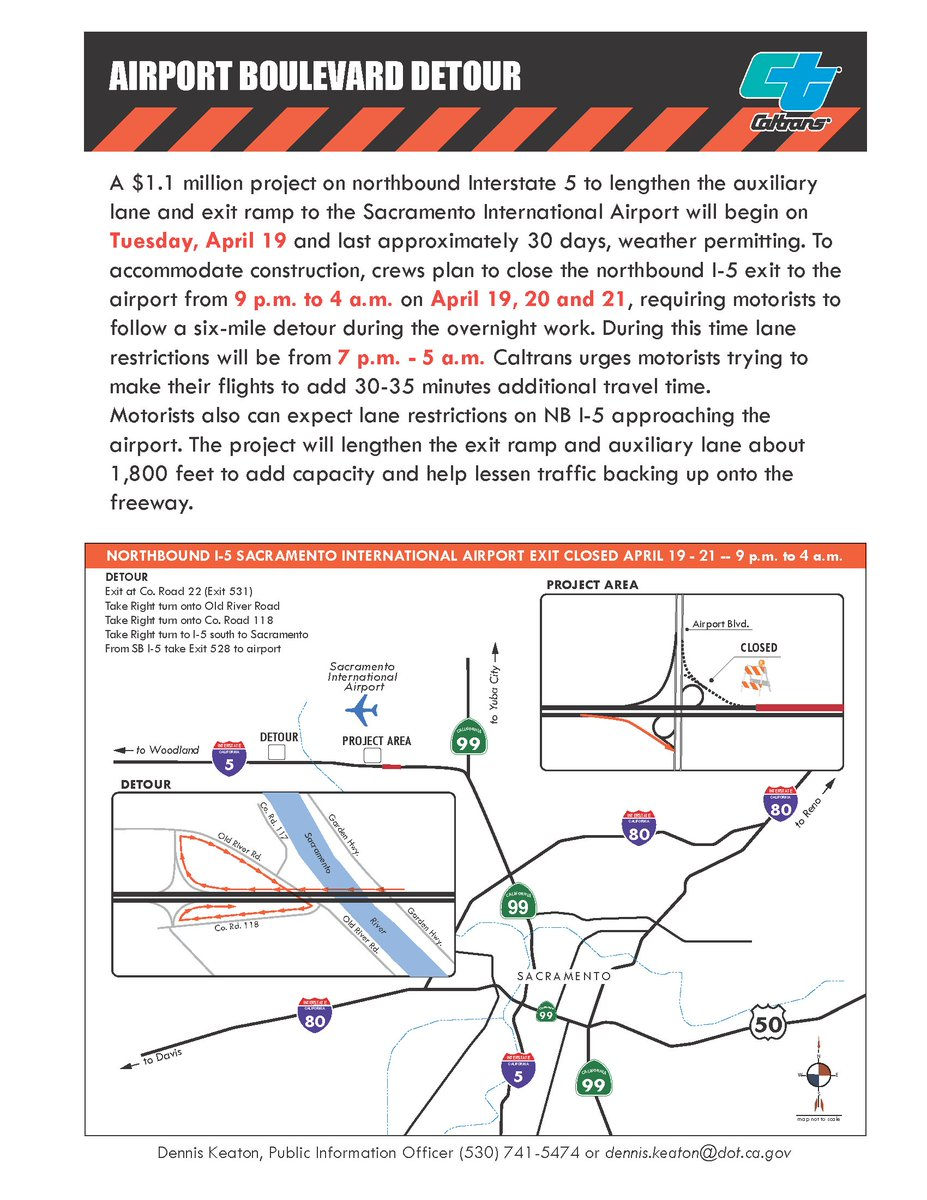 Driving to SMF after 7p on April 19-21? Add 30 min to drive. Traffic impacted from 7p-5a