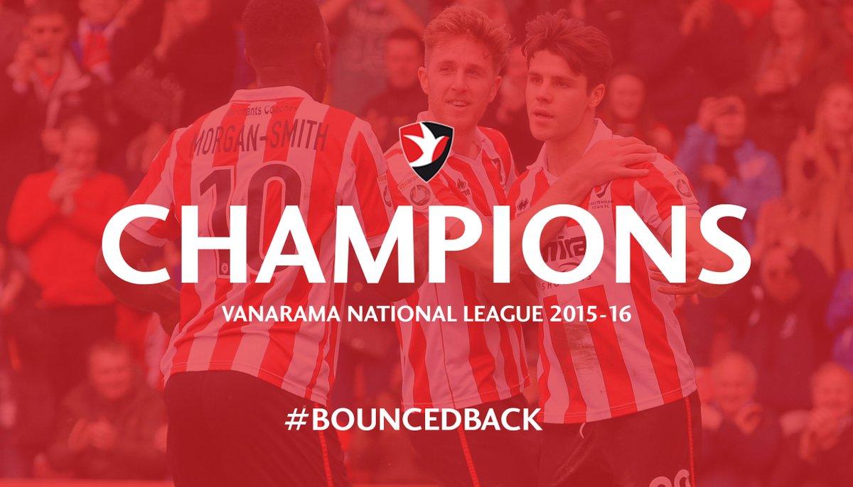 Cheltenham Town are the @Vanarama National League Champions 2015-16 #ctfc https://t.co/Mq0u593Rn5