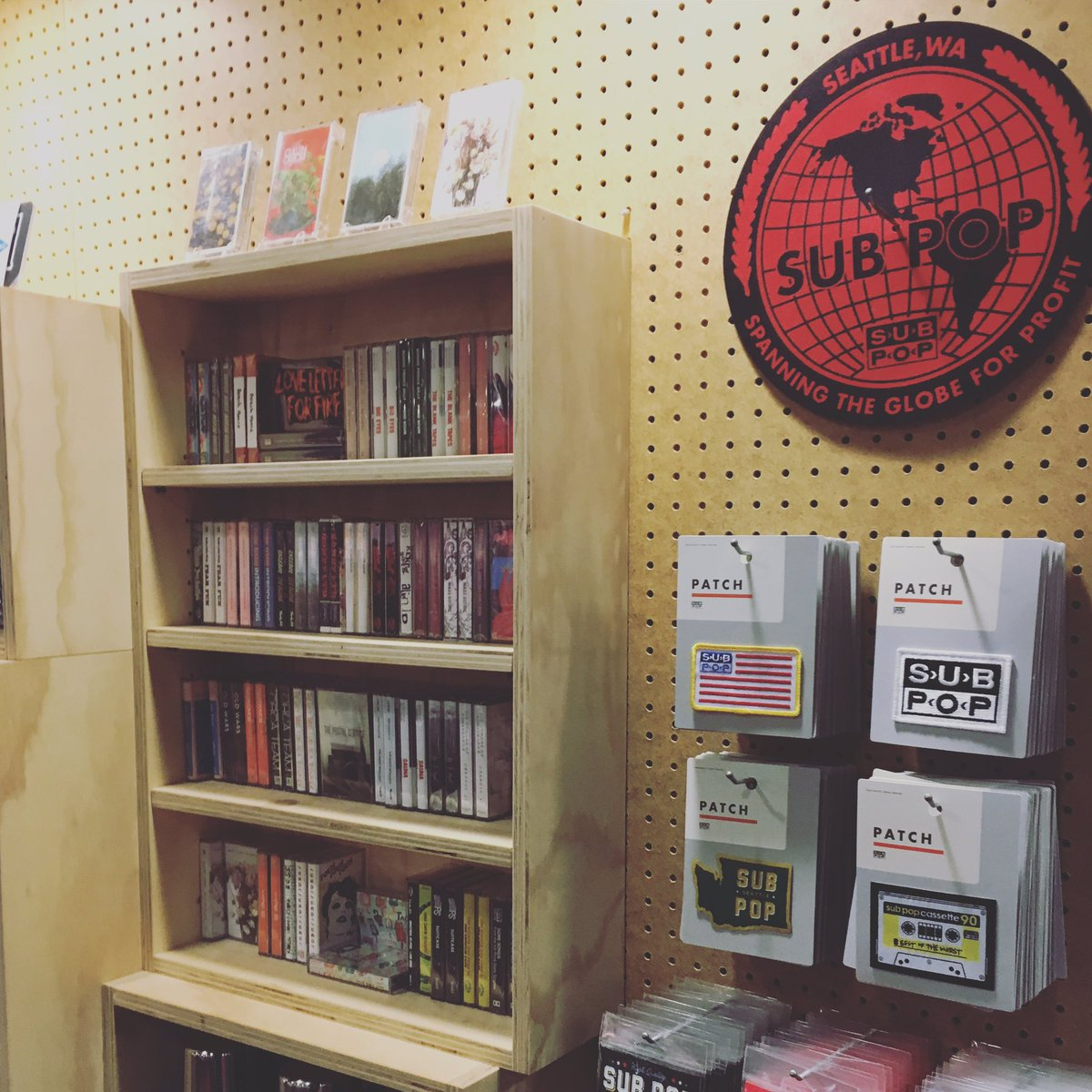Wow, not only is there a @subpop record store in the airport but they're still selling cassettes. #amazing https://t.co/7yug035AQo
