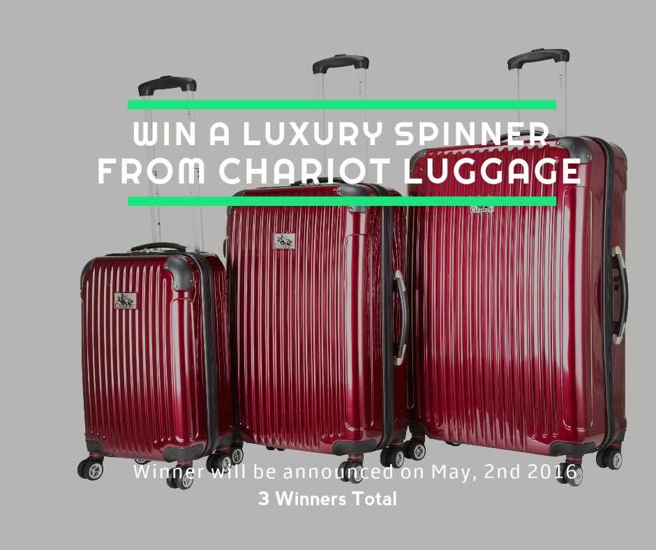 Win a luxury spinner luggage from @chariotluggage Enter to win now: https://t.co/wUJDkhC7Sp  #TravelTheWorld https://t.co/JYPrrDPh4w